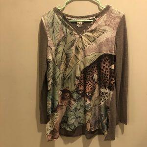 Anthropologie a Kemi+ kin tiger blouse long sleeve